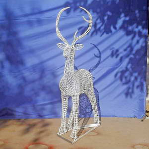 Garden metal deer sculpture