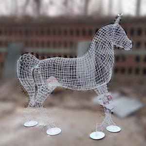Iron wire horse sculpture